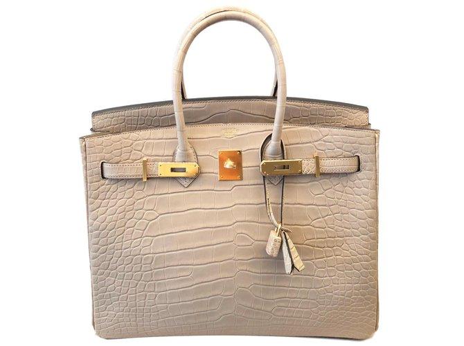 Hermès Birkin 35 cm Alligator Mat Concrete Handbags Exotic leather Beige ref .85311 cc99779b3597f