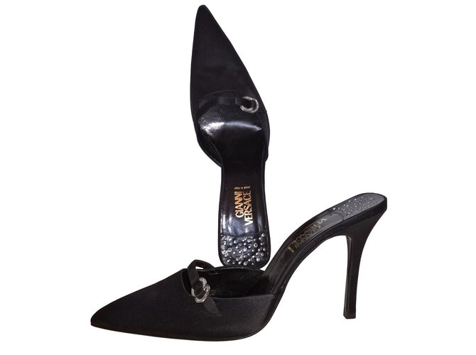 1dec2db61 Gianni Versace Heels Mules Satin Black ref.85389 - Joli Closet