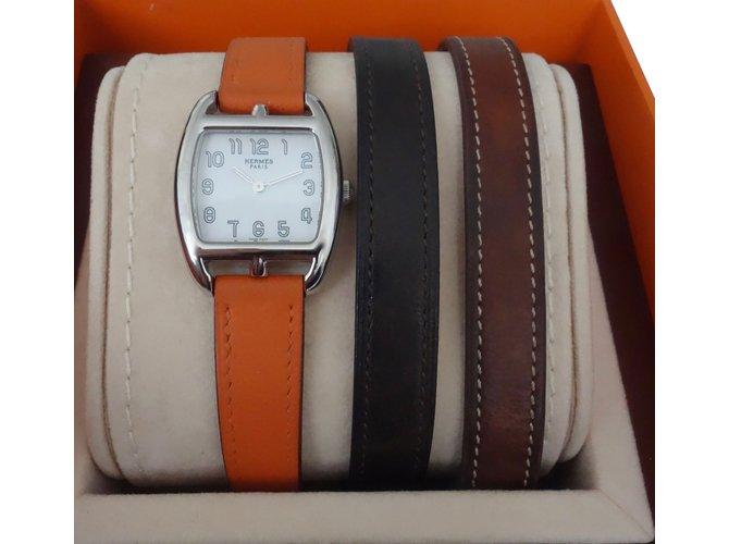 Montres Hermès MONTRE CAPE COD TONNEAU 3 BRACELETS Cuir,Acier Marron,Orange,Marron foncé ref.85443