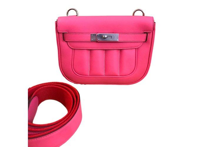 Sacs à main Hermès berline mini Cuir Rose ref.85585