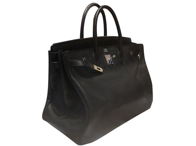 Sacs à main Hermès Birkin Cuir Noir ref.85613