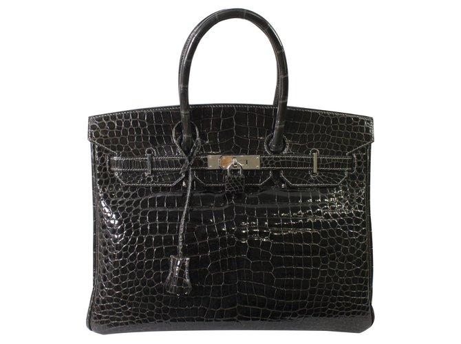 Sacs à main Hermès Birkin 35 Cuirs exotiques Gris anthracite ref.85761