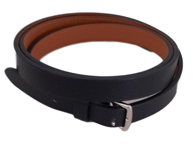 Bracelets Hermès Bracelets Cuir Noir ref.85954