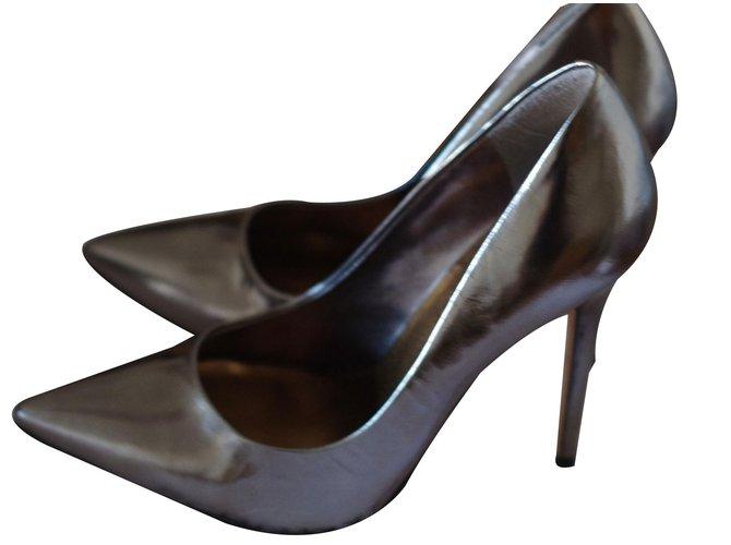 f54201f1312a Bcbg Max Azria Pumps Heels Leather Silvery ref.86048 - Joli Closet