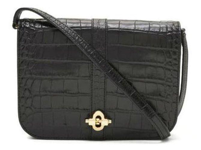 Banana Republic Black Leather Bag Crocodile Pattern Handbags Patent Ref 86054