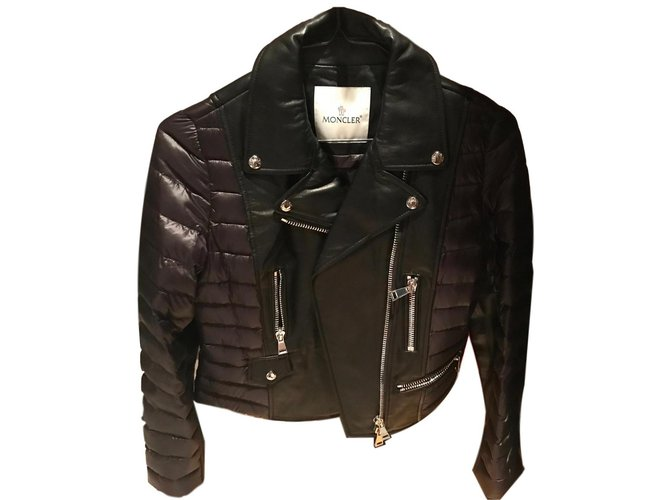 Moncler leatner puffer jacket Jackets Leather Black ref.86092
