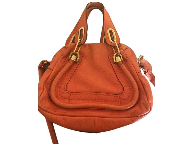 Chloé Paraty Handbags Leather Orange ref.86115