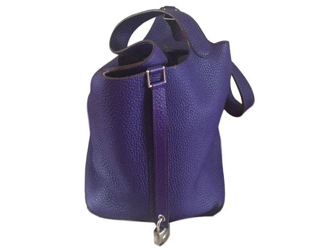 Sacs à main Hermès Sac Picotin Lock 22 Iris Cuir Violet ref.86147