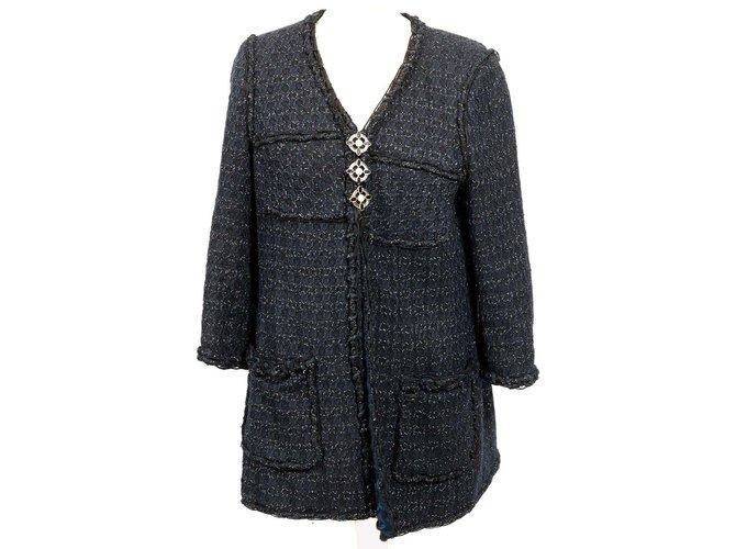 Chanel Jackets Jackets Tweed Navy blue ref.86152