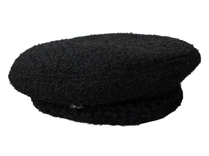 Chanel Beret Hat Hats Wool Black ref.86154 - Joli Closet 31a57b6c828