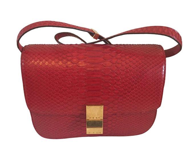04d1b970bdc9 Sacs à main Céline Classic Box en python rouge Cuirs exotiques Rouge ref .86220