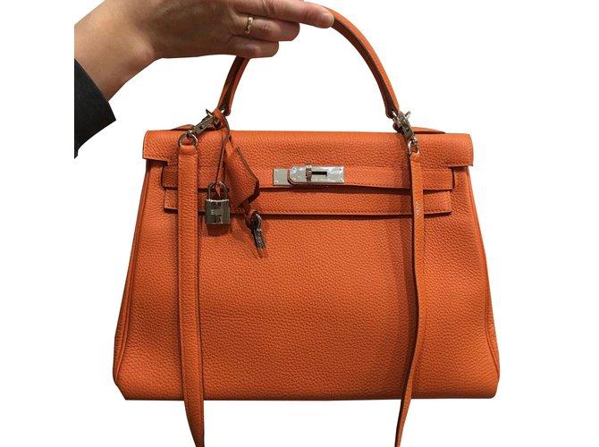 d412481587d1 Hermès Kelly32 Handbags Leather Orange ref.86386 - Joli Closet
