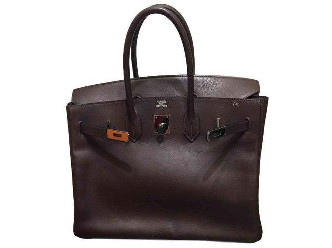 Hermès Birkin 35 Handbags Leather Brown ref.86395