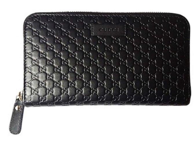 b0168e723121 Portefeuilles Gucci Portefeuille zippé Micro Cuir Noir ref.86404 ...