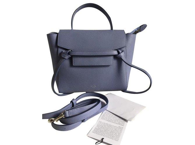 7abc32e779da Céline Micro belt bag Handbags Leather Blue ref.86421 - Joli Closet