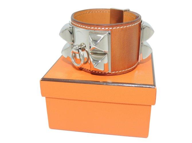 Bracelets Hermès BRACELET MANCHETTE COLLIER DE CHIEN Cuir Caramel ref.86426