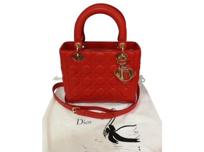 acc2aede801d Dior LADY DIOR Handbags Lambskin Red ref.86499 - Joli Closet