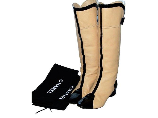 cc3b3d37c38a Chanel Two colour boots Boots Leather,Patent leather Black,Beige ref.86516