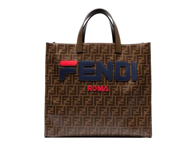 catch latest fashion professional sale Fendi Fendi Mania brown logo print tote bag Handbags Other Other ...