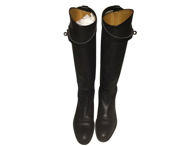 Joli Hermès Black Ref Closet Leather 86557 Boots D9IEW2H