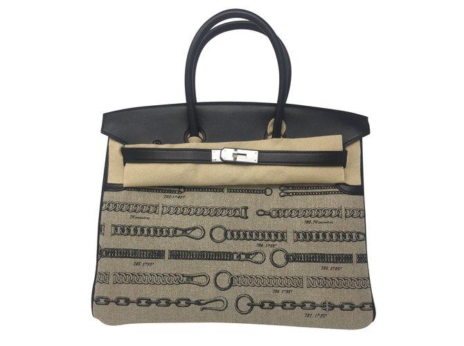 Hermès Birkin 35 Handtaschen Leder Schwarz ref.86563