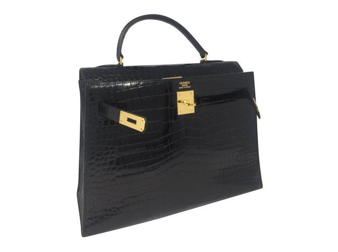 Sacs à main Hermès Kelly Cuirs exotiques Noir ref.86566
