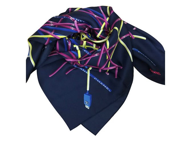 Chanel Scarf Scarves Silk Navy blue ref.86567