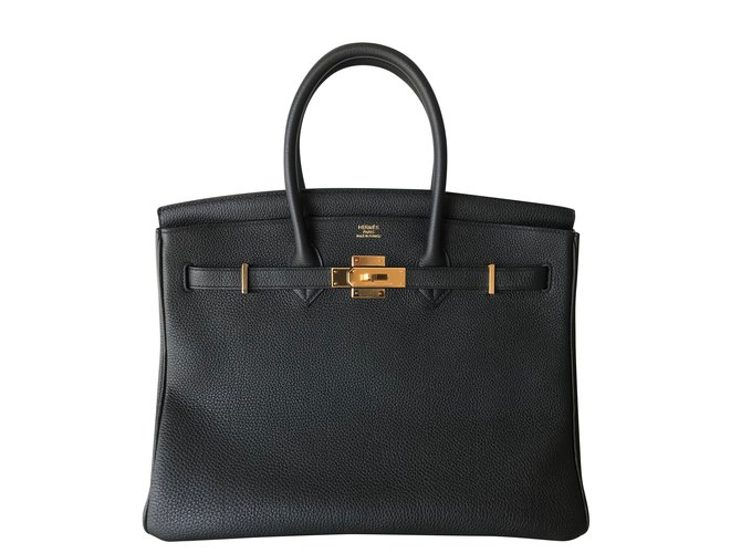 Sacs à main Hermès Birkin 35 Cuir Noir ref.86610