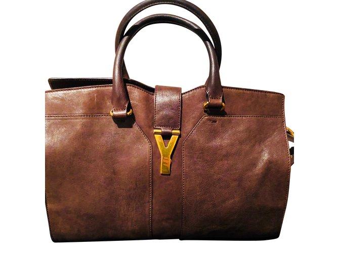 61add6f65c82 Yves Saint Laurent CHYC handbag Handbags Leather Dark brown ref.86619