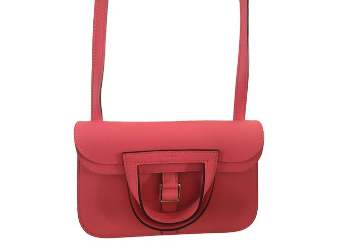 Sacs à main Hermès Sac Halzan mini Rose Azalée Cuir Rose ref.86651