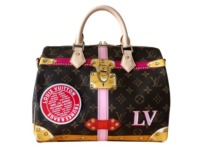 Louis Vuitton Speedy Shoulder Strap 30 Handbags Cloth Multiple colors ref.86661