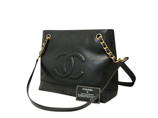75925775aada Chanel Tote bag Handbags Leather Black ref.86782 - Joli Closet
