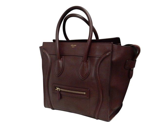35461d08f93f Céline Mini Luggage Handbags Leather Red ref.86904 - Joli Closet