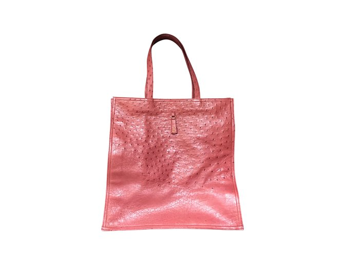 98226a155129 Yves Saint Laurent Pink Ostrich tote Handbags Other Pink ref.86936 ...