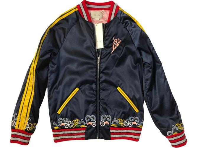 Vestes Gucci NOUVEAU Bomber 2018 XS Nylon Rouge,Bleu,Jaune,Bleu Marine ref.87119