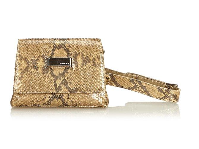 11bc5a7859b317 Gucci Python Leather Belt Bag Handbags Other Brown Beige Ref