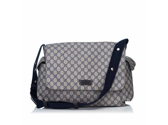 f14b9ab394bf Gucci GG Plus Diaper Bag Handbags Cloth,Cloth Brown,Beige ref.87177 ...