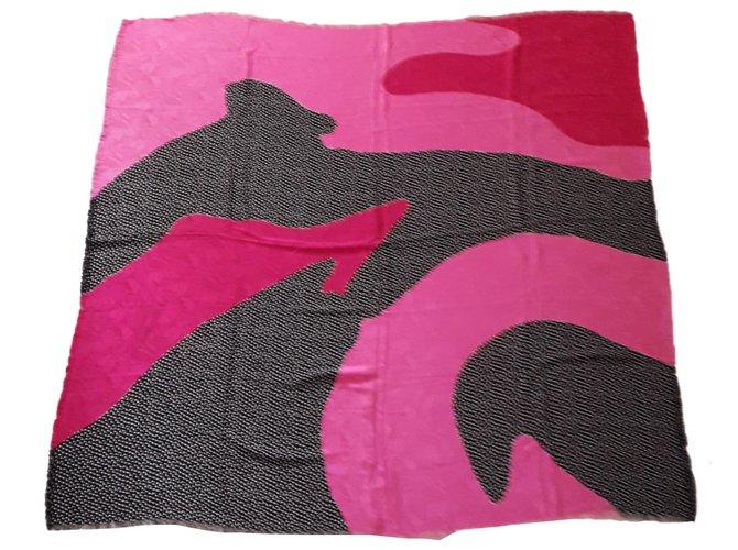 Carrés Yves Saint Laurent Carre' Yves Saint Laurent Soie Noir,Rose,Rouge,Fuschia ref.87307