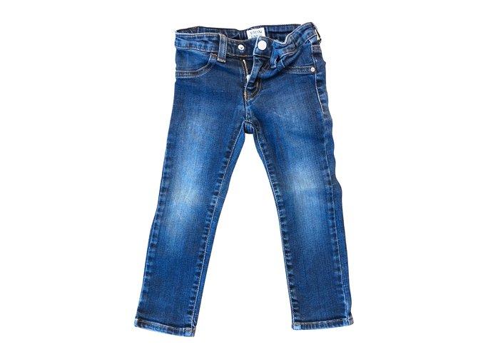 Pantalons fille Armani Pantalons Coton Bleu Marine ref.87335