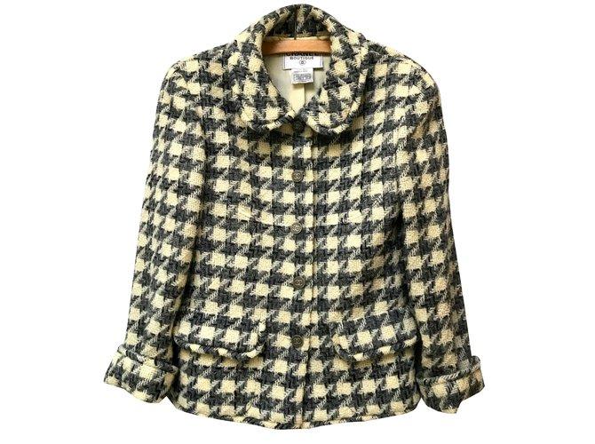 Vestes Chanel Veste en laine Laine Gris,Crème ref.87353