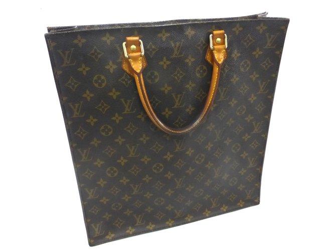 5eff0caf9c8e Louis Vuitton Sac plat monogram Handbags Leather Brown ref.87414 ...