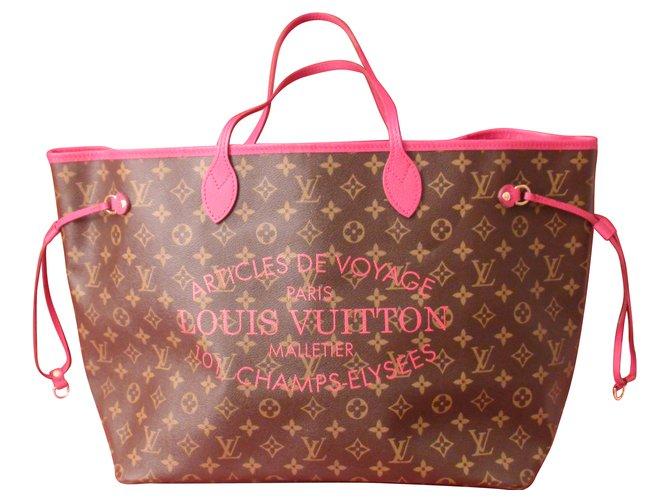 ab93f1a76839 Louis Vuitton Neverfull Handbags Leather Pink ref.87500 ... Louis Vuitton  Encre Monogram Idylle Neverfull MM Bag. nextprev. prevnext