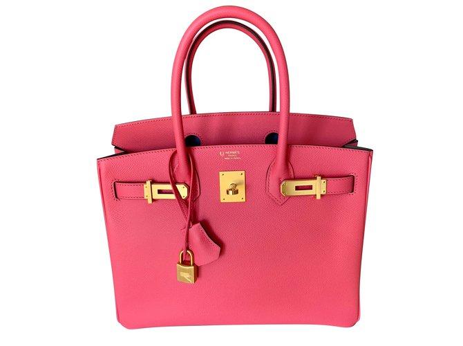 Cabas Hermès Commande spéciale Birkin 30 - Fer à Cheval Cuir Rose ref.87537