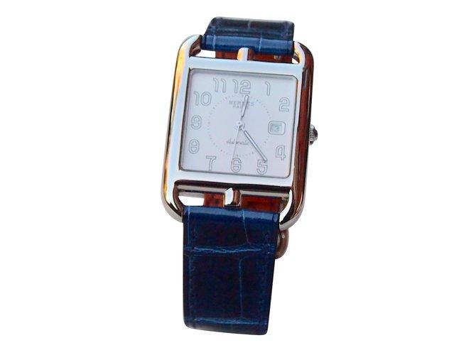 Montres Hermès Cape cod automatique gm Cuirs exotiques Bleu Marine ref.105527