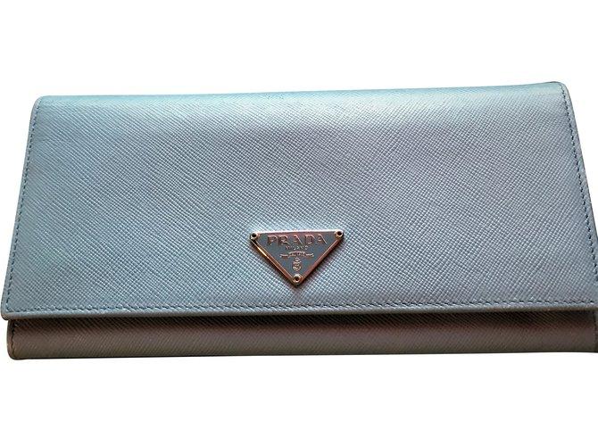 ba1ca8097927 Prada Purse Wallets Leather Light blue ref.87572 - Joli Closet