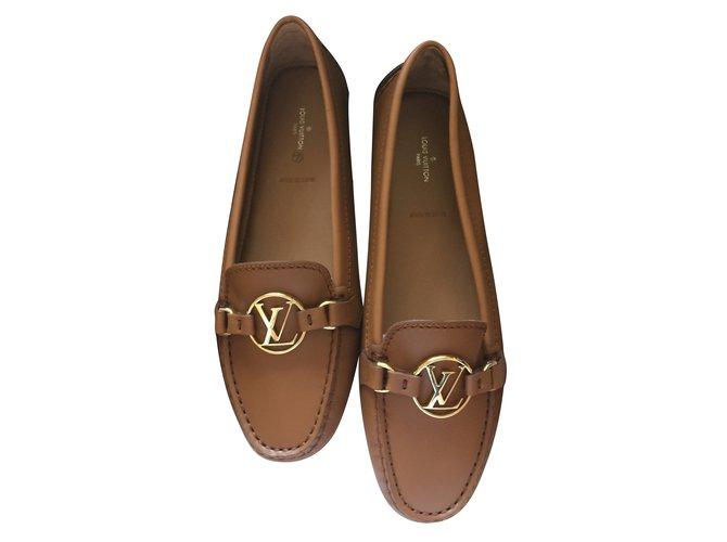 90a856e91643 Louis Vuitton Dauphine Flat Loafer Flats Leather Cognac ref.87573 ...