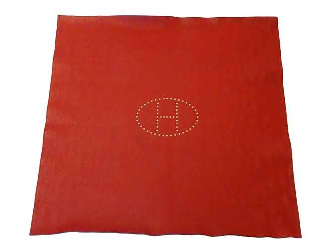 Hermes Leather Playmat Misc Leather Red Ref 87722 Joli Closet