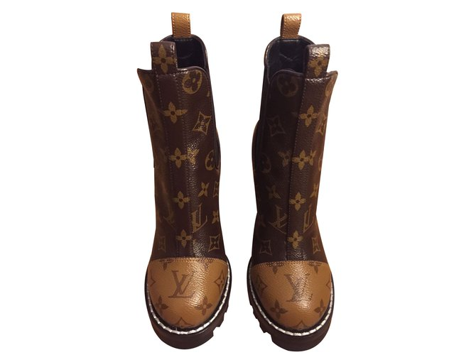8dcc357c7798 Louis Vuitton Star Trail Boot Ankle Boots Leather Dark brown ref.87808