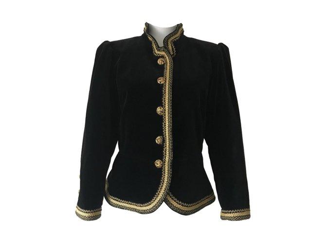 c8b5dc921b2 Yves Saint Laurent Velvet Jacket Jackets Velvet,Cotton Black,Golden  ref.87829