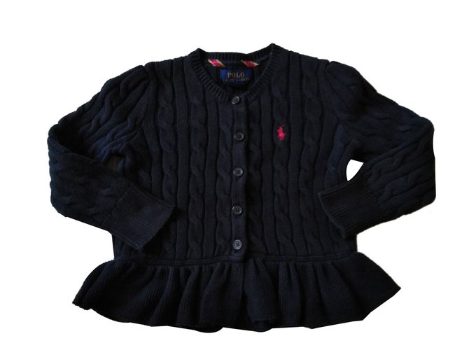 Pulls, gilets fille Polo Ralph Lauren Gilet volant Coton Bleu Marine ref.87883